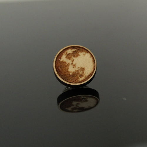 Moon Wood Brooch/Lapel Pin