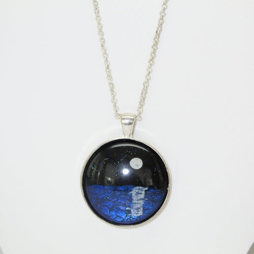 Painted Glass Round Pendant Necklace