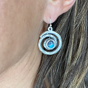 Spiral Galaxy Silver and Labradorite Earrings