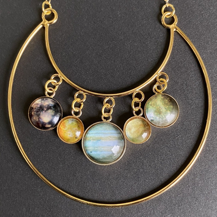 Jupiter & Galilean Moons Gold Necklace