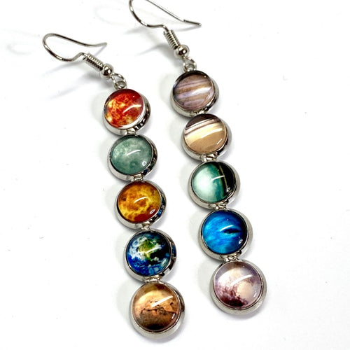 Solar System Mismatched Drop Earrings