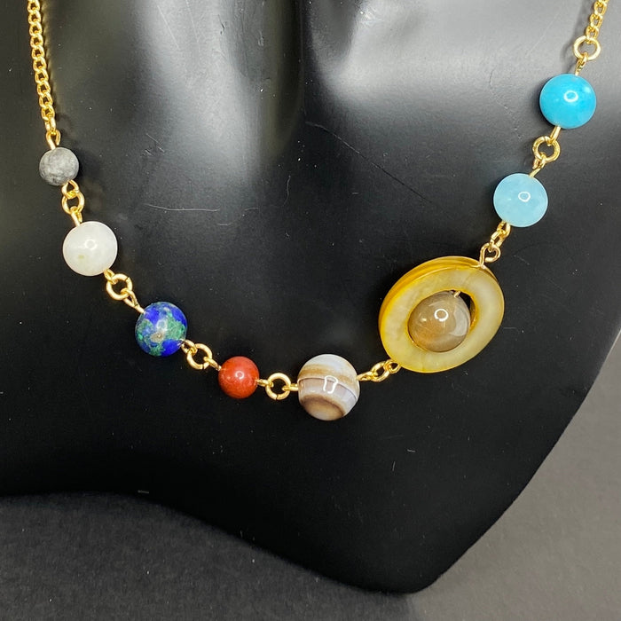 Semiprecious Stone Beads Planetary Necklace