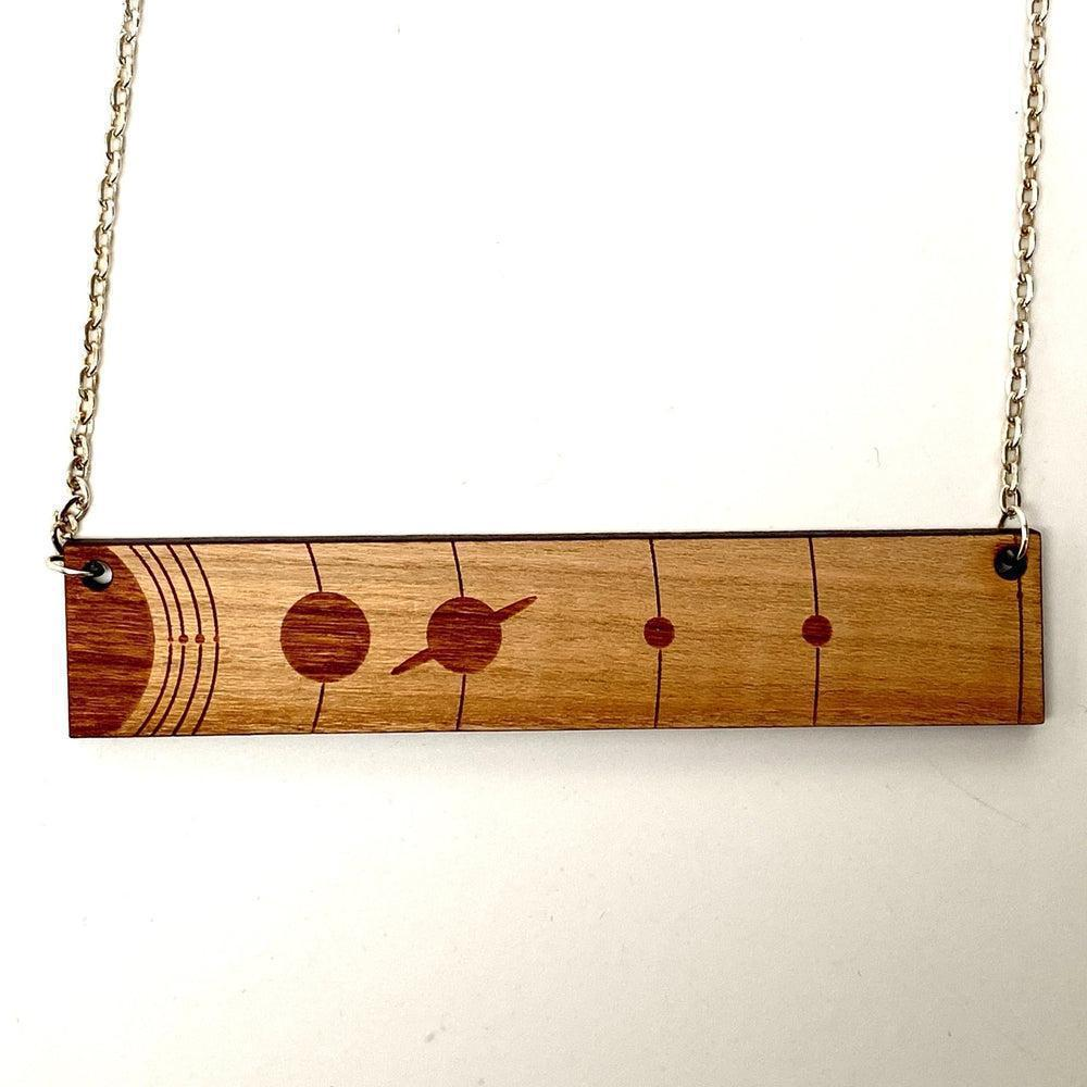 Solar System To Scale Horizontal Wood Necklace with Pluto