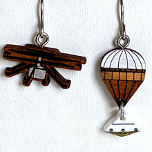 Load image into Gallery viewer, Mars Ingenuity Helicopter + Parachute with Capsule Earrings