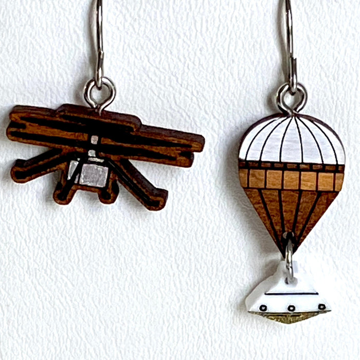 Mars Ingenuity Helicopter + Parachute with Capsule Earrings