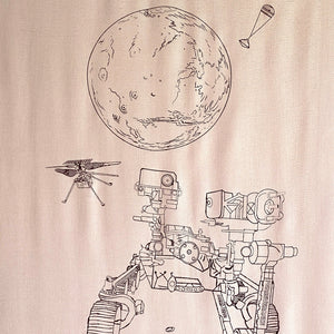 Mars Perseverance Rover + Ingenuity Helicopter Scarf