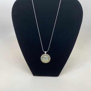 Rings of Saturn Domed Glass Pendant Necklace