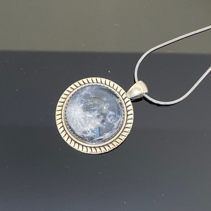 Moon Domed Glass Pendant Necklace