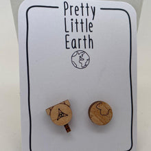 Load image into Gallery viewer, Pluto + New Horizons Mismatched Wood Earrings