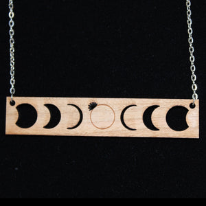 Solar Eclipse Wood Necklace