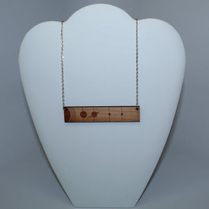 Solar System To Scale Horizontal Wood Necklace