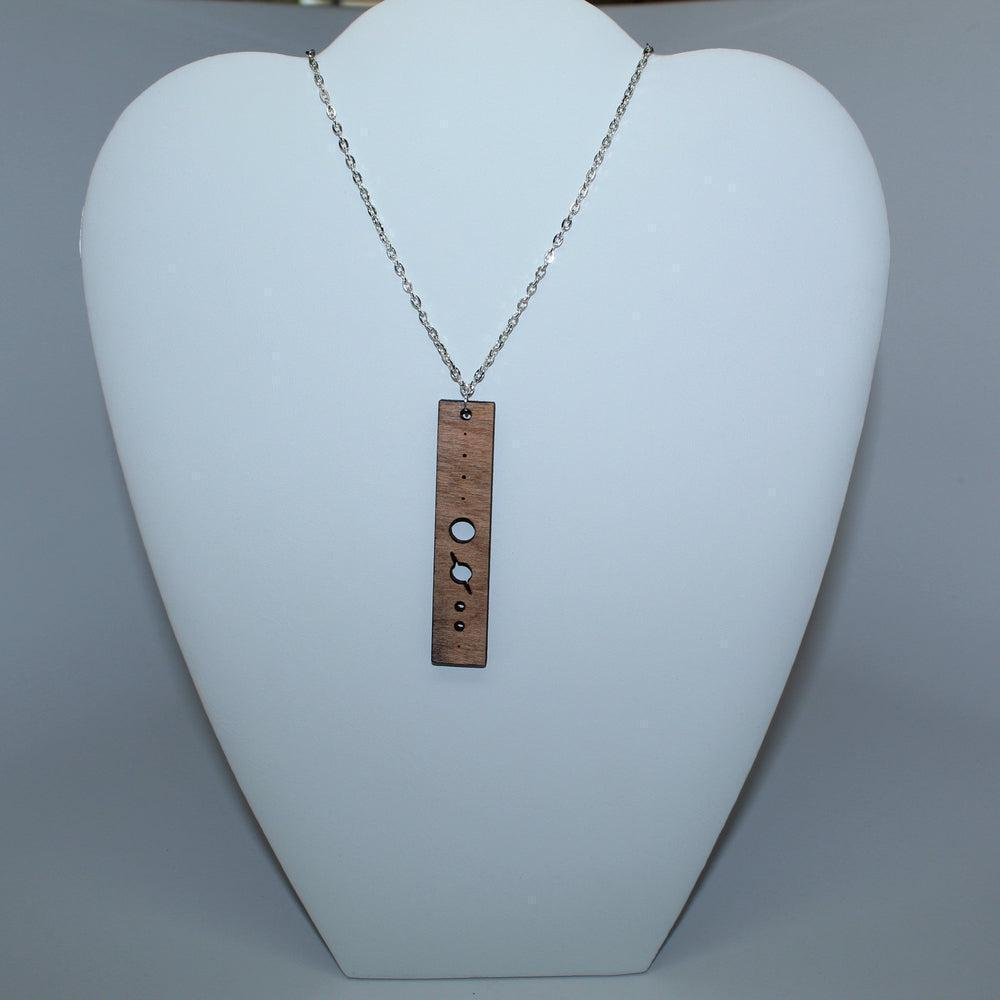 Planets Size Scale Vertical Wood Necklace