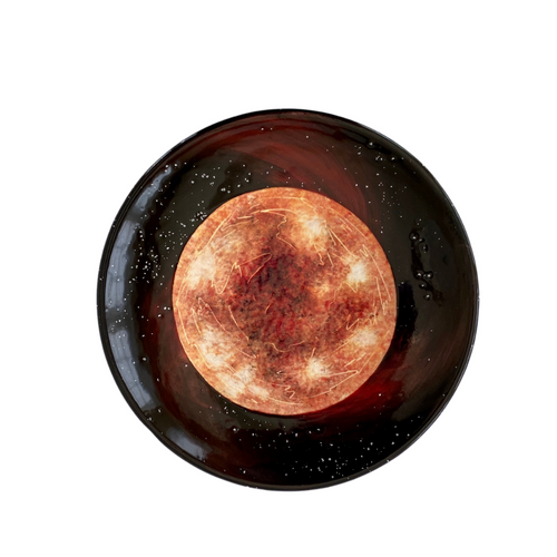 Red Giant Star Hand-Painted Round Ceramic Plate