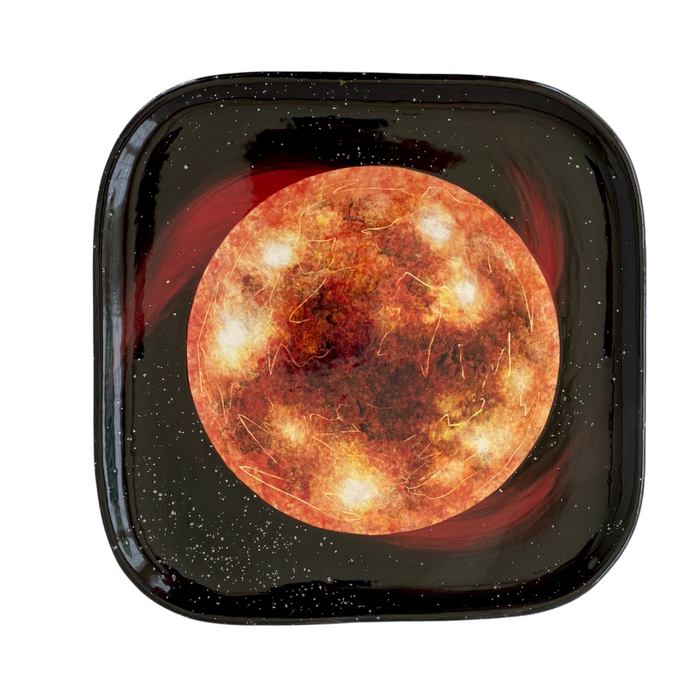 Red Giant Star Hand-Painted Square Ceramic Plate