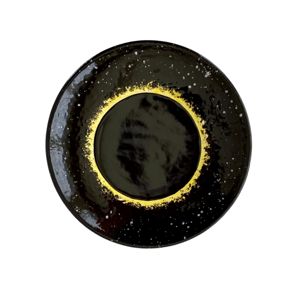 Solar Eclipse Hand-Painted Ceramic Plate