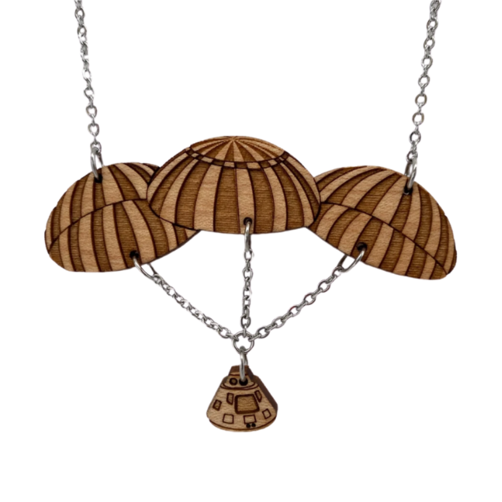 Apollo Command Module + Parachutes Wood Necklace
