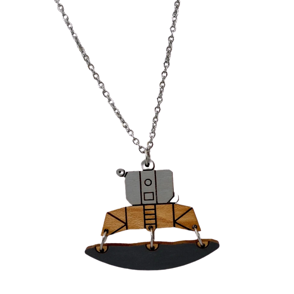 Lunar Lander Wood Necklace