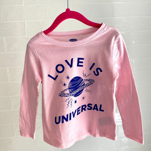 Kids T-shirt-Love is Universal pink Saturn blue long sleeve