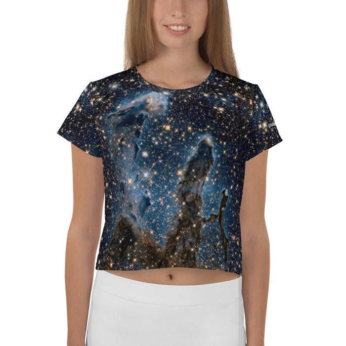 Pillars of Creation in Infrared by Hubbled Cropped T-Shirt
