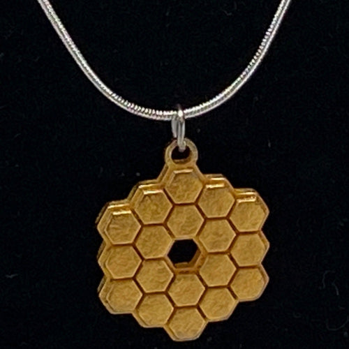 James Webb Space Telescope Mirror 3D Printed Metal Necklace