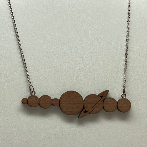 Solar System Planets Silhouette Wood Necklace