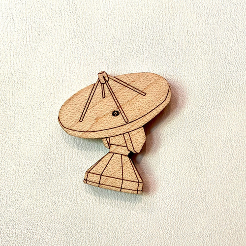 Radio Telescope Wooden Laser Cut Brooch