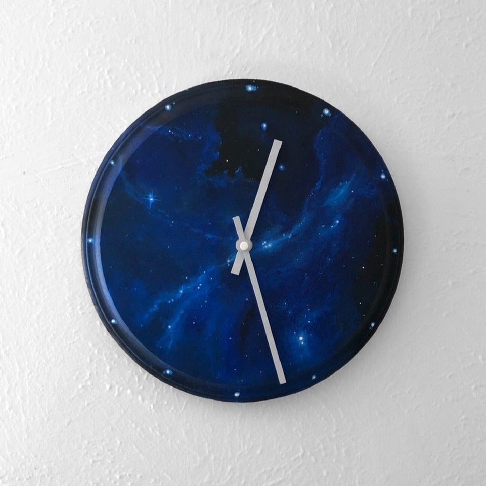 Cosmic Hand-Painted Wood Clock