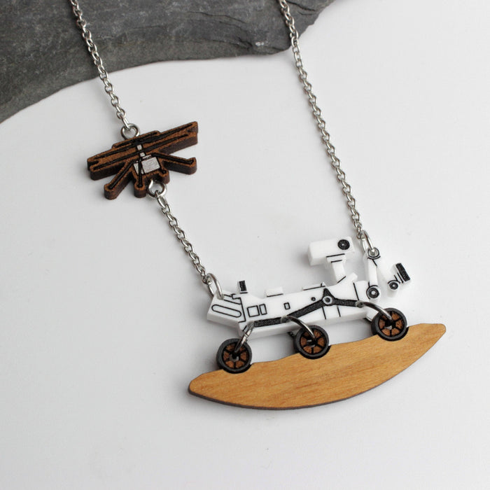 Mars Perseverance Rover + Ingenuity Helicopter Necklace