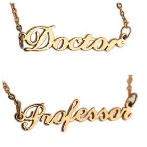 Doctor or Professor Nameplate Necklace
