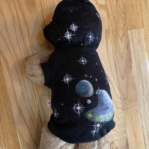Space Hand-Painted Black Hooded Pet Shirt