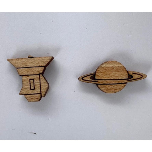 Saturn + Cassini Mismatched Wood Stud Earrings