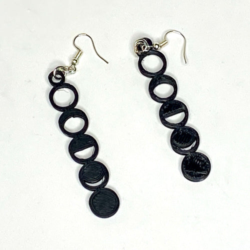 Moon Phases 3D Printed Earrings