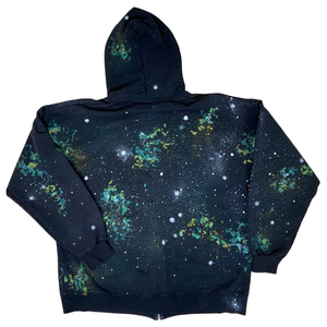 Nebula Hand-Painted Black Zip-Up Hooded Sweatshirt