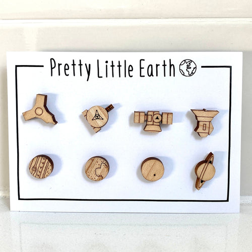 Space Mission Wood Post Earrings Set