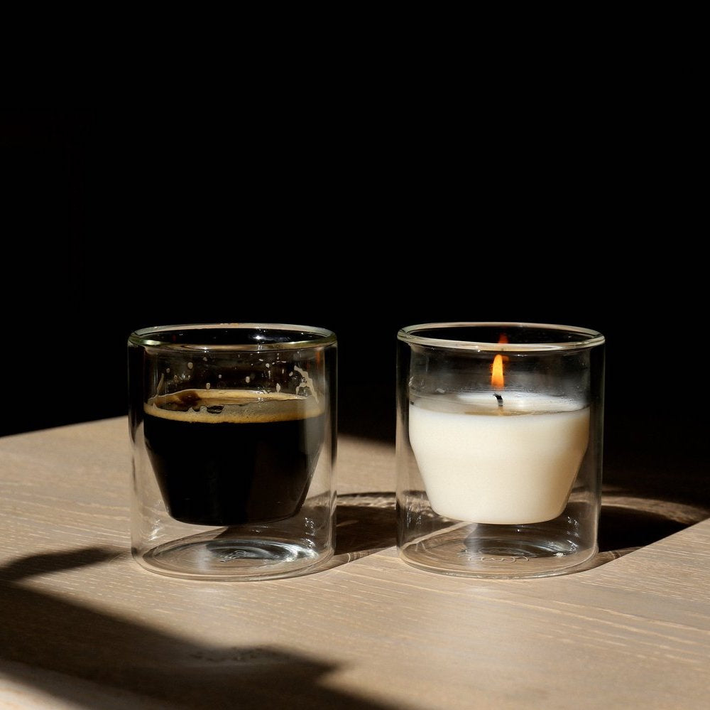 Use the Yield Avilés Candle double wall vessel as a drinking glass or coffee cup after burning.