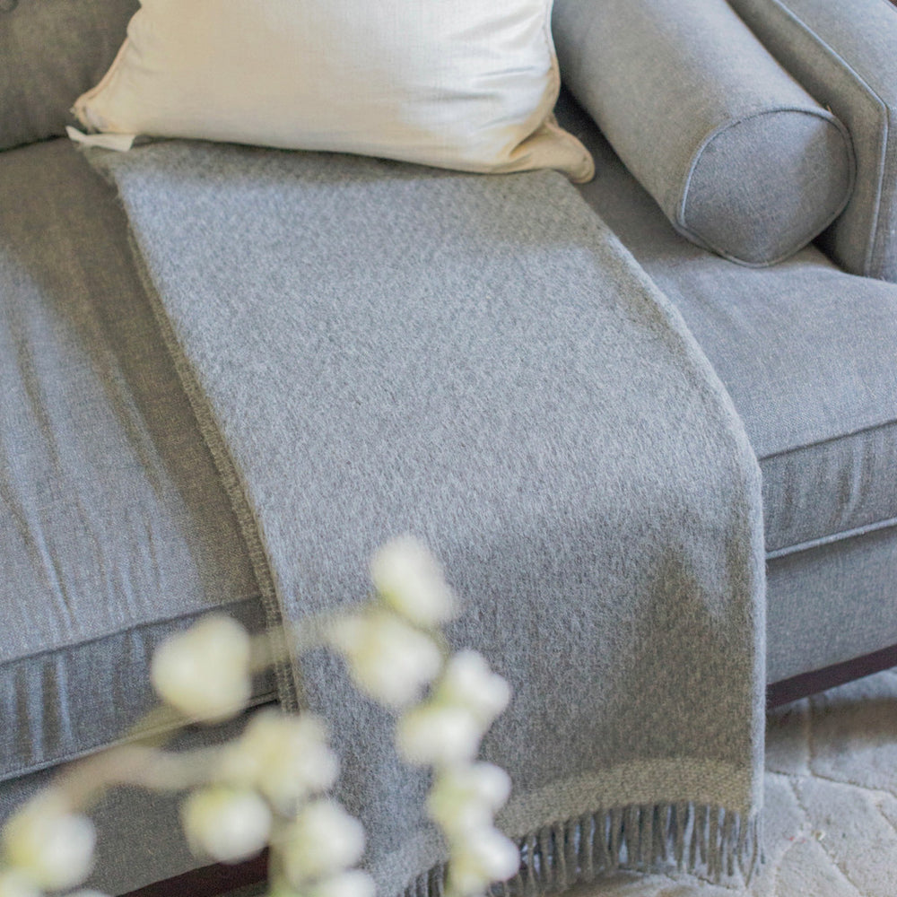 Alpaca Lambswool Throw - Charcoal/Light Grey Stripe by Linen Way - Merchant of York Toronto