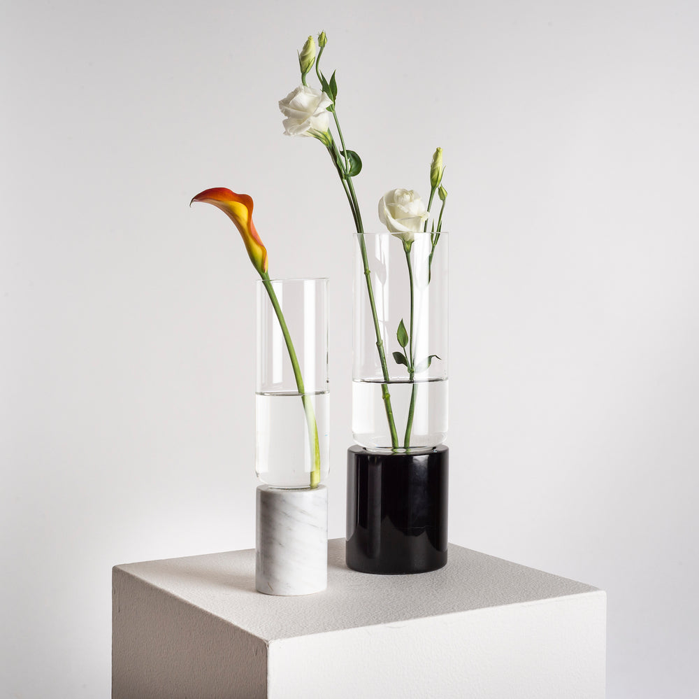 Soliflor Flower Vase Tall, Black Marble