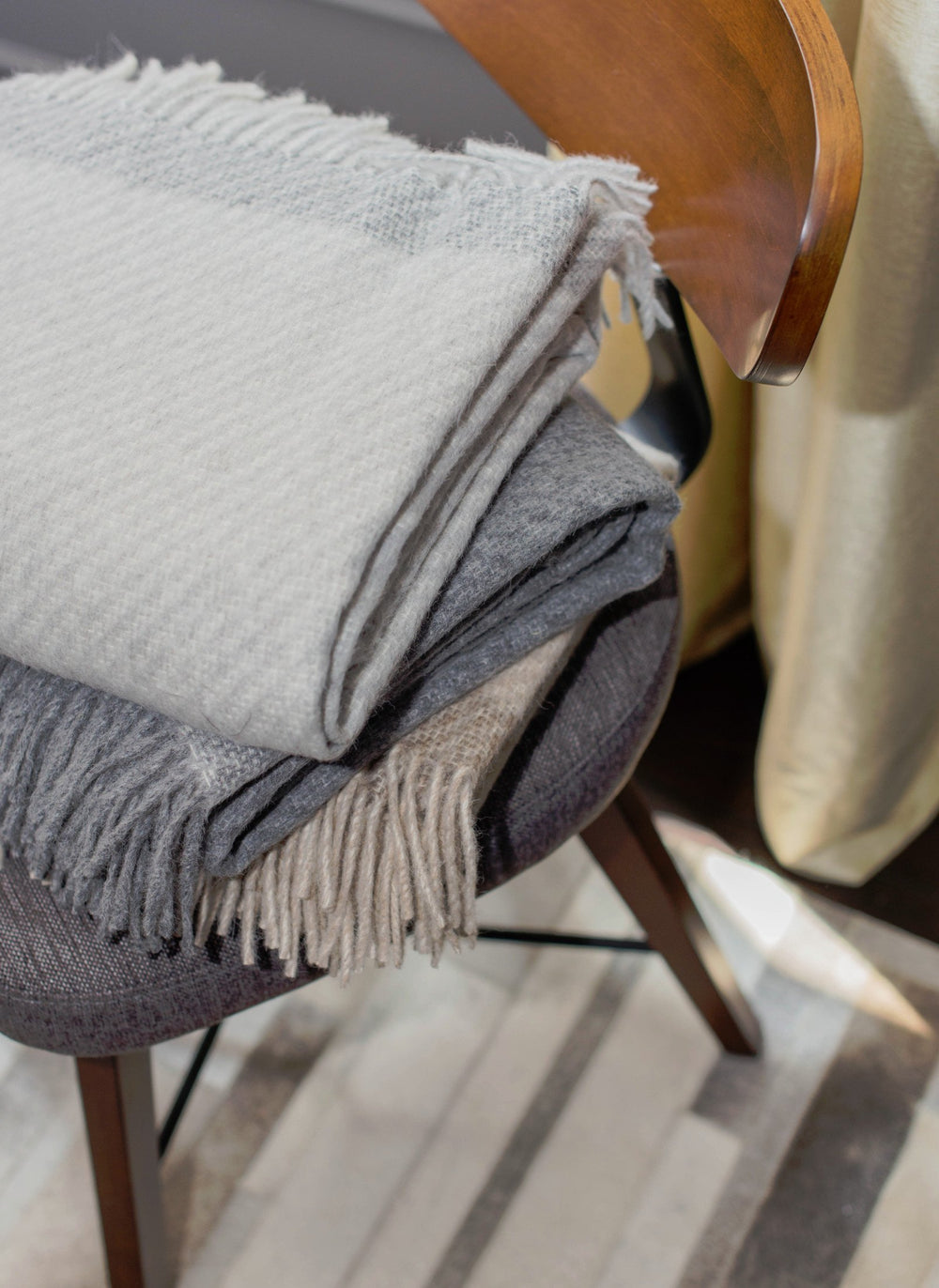 Alpaca Lambswool Throw - Oatmeal/Taupe Stripe by Linen Way - Merchant of York Toronto