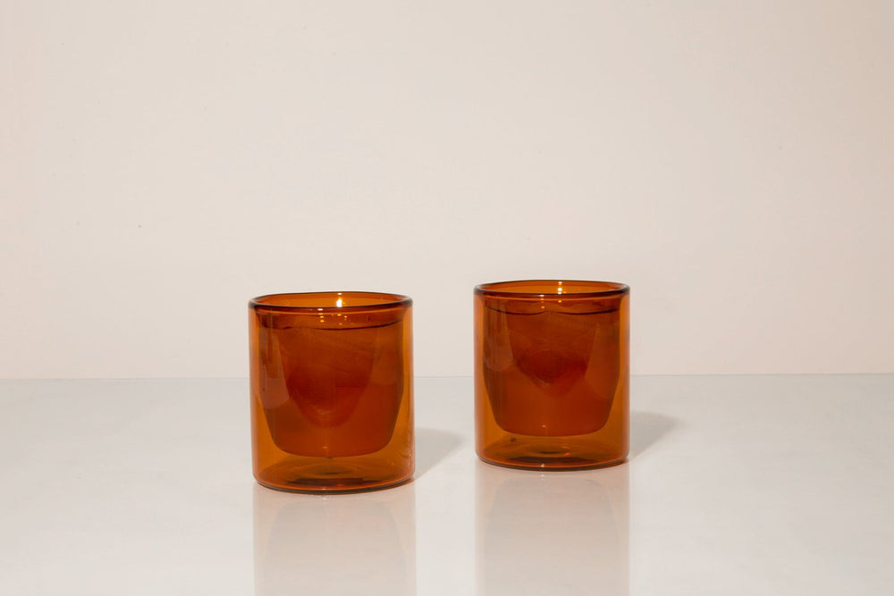 Double-Wall 6oz Glasses - Set of Two Amber by Yield - Merchant of York