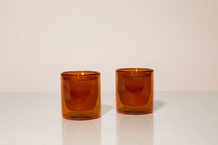 Double-Wall 6oz Glasses - Set of Two Amber - Merchant of York