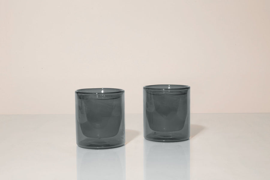 Double-Wall 6oz Glasses - Set of Two Grey - Merchant of York