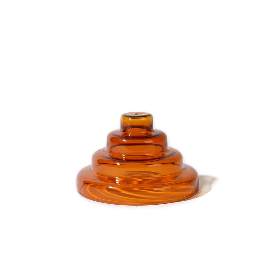 Glass Meso Incense Holder - Amber