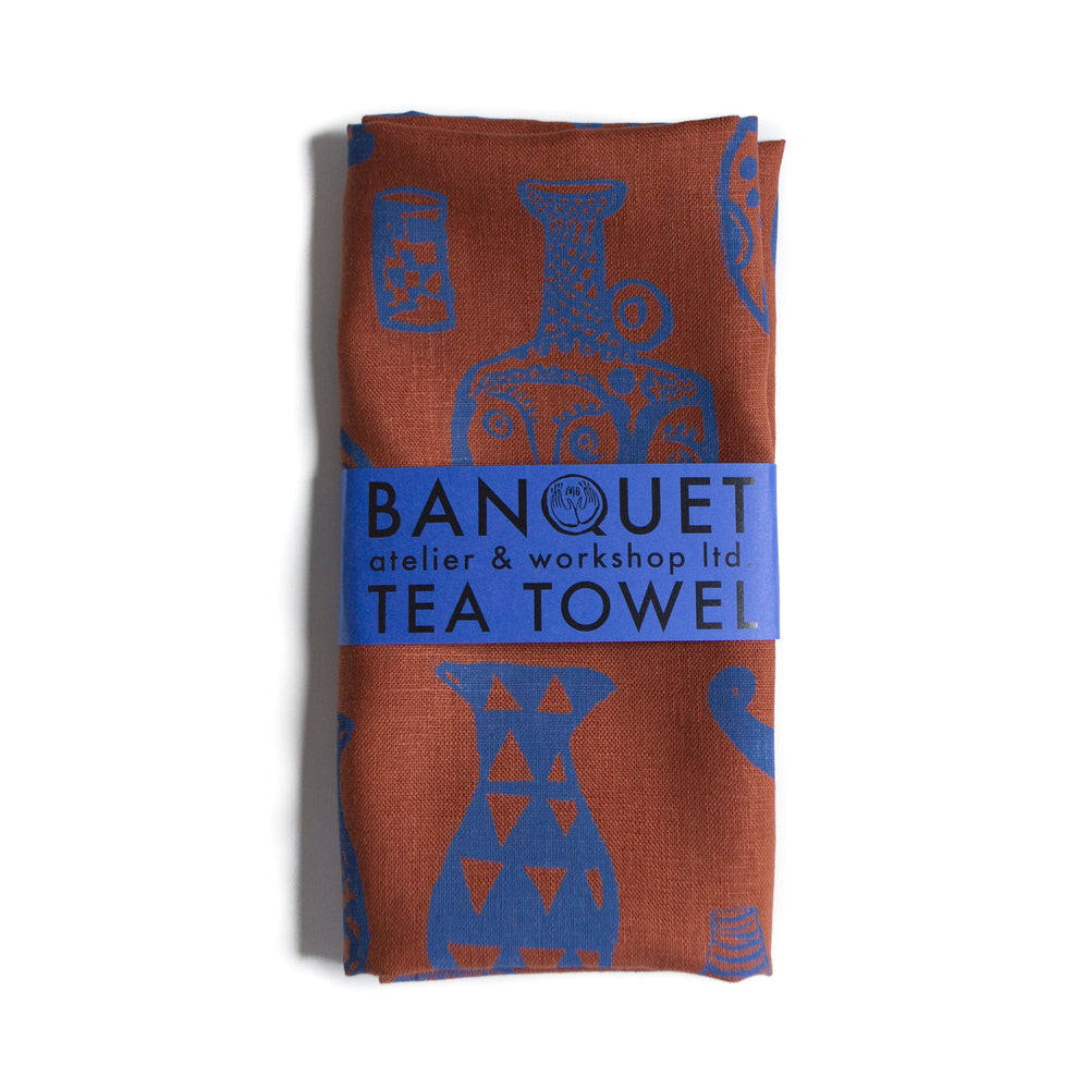 """Vessels"" Electric Blue On Rust Linen Tea Towel by Banquet Workshop - Merchant of York"