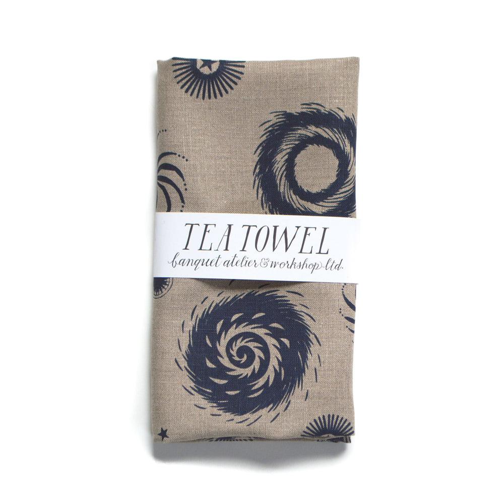 Fireworks Navy on Natural Linen Tea Towel