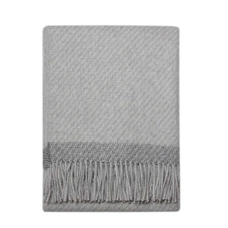 Alpaca Lambswool Throw - Light Grey/Charcoal Stripe - Merchant of York