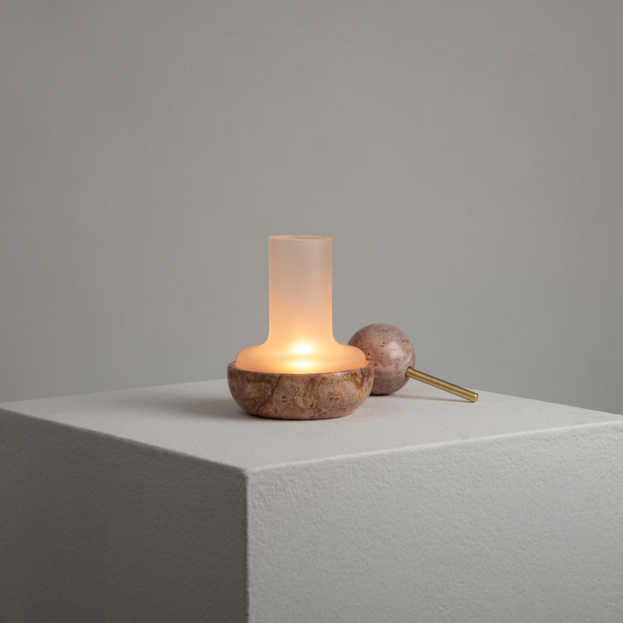 Quinqué Tealight Lamp - Pink Marble - Merchant of York