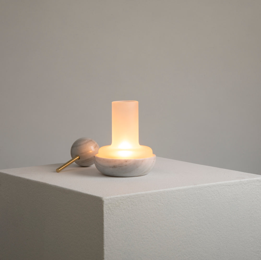 Quinqué Tealight Lamp - White Marble by And Jacob - Merchant of York