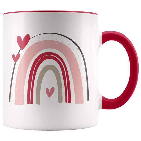 Valentine Rainbow Hearts Accent Mug Red - Tierra Bella