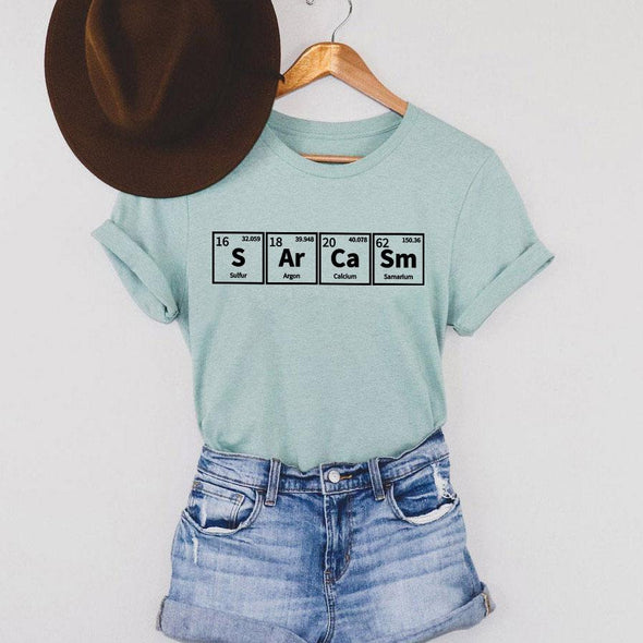 Sarcasm Periodic Table Tee Heather Prism Dusty Blue XS - Tierra Bella