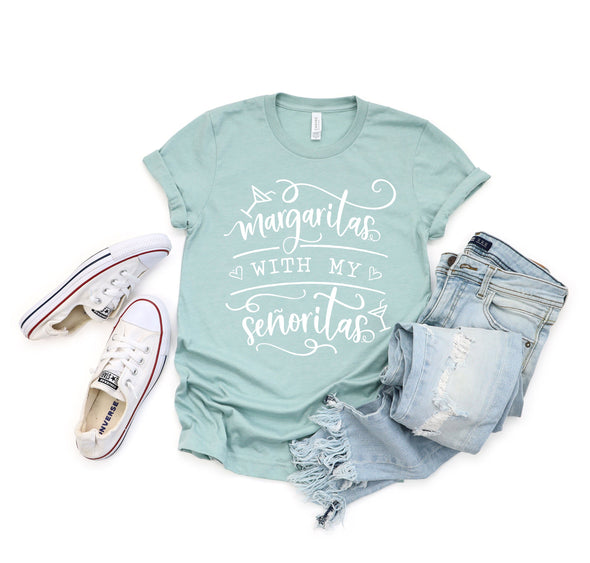 Margaritas With My Senoritas Unisex Tee Heather Prism Dusty Blue 3XL - Tierra Bella